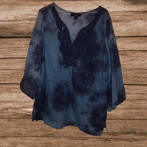 August Silk blue tie dye embroidered boho top 1X